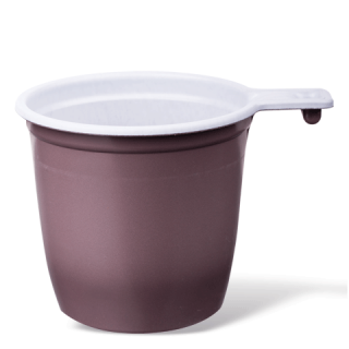 Чашка пластиковая бело-коричневая, 200 мл, 50 шт. в упаковке