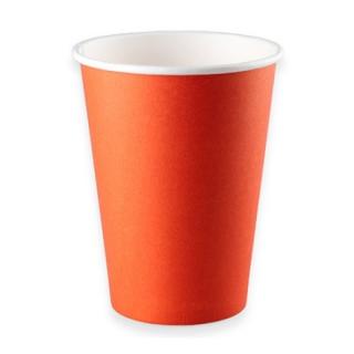 Стаканчик картонный одинарный под горячие напитки Красный, 350 мл, 50 шт. в уп., 90/59/115 мм