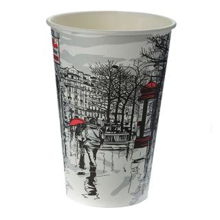 Стакан картонный одинарный под горячие напитки Паперскоп Big City, 400 мл, 50 шт./уп.