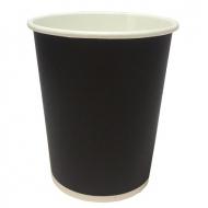 Стаканчик картонный одинарный под горячие напитки Черный, 250 мл, 50 шт. в уп. , 80/54/95 мм