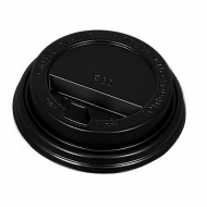 Крышка для картонных стаканов под горячие напитки Черная, 80 мм, 100 шт. в упаковке
