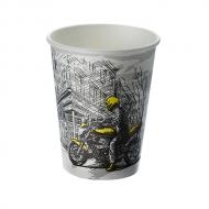 Стакан картонный одинарный под горячие напитки Паперскоп Big City, 250 мл, 50 шт./уп.