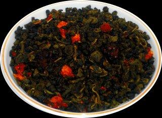 Чай зеленый  Земляника со сливками, 500 г, фольгированный пакет, крупнолистовой зеленый ароматизированный чай