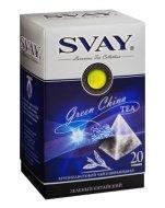 Чай Svay Green China зеленый байховый китайский крупнолистовой (20 пирамидок по 2гр.)